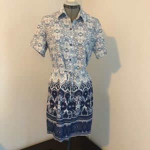 Lands' End shirtdress blue and white button down M